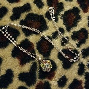 Jewelry - Silver flower necklace with multicolor gems